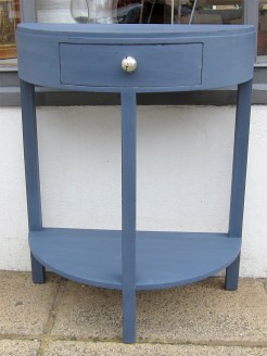 Navy Blue Painted Demi Lune Small Table