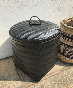 Lidded Black Woven Seagrass Basket