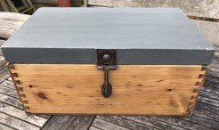 Victorian Pine Box With Fossil Grey Painted Top