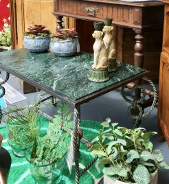 Vintage French Iron Table With Green Marble Top