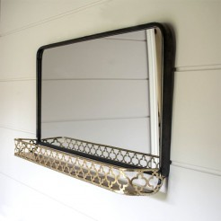 Metal landscape mirror with Shelf